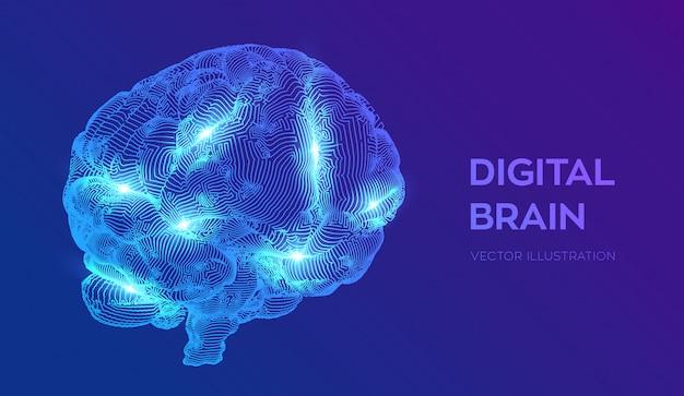 Hersenen. digitale hersenen. neuraal netwerk.