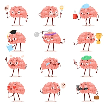 Hersenen emotie vector cartoon bekrompen karakter expressie emoticon en intelligentie emoji bestuderen liefdevolle of huilen illustratie brainstormen set zakenman kawaii geïsoleerd