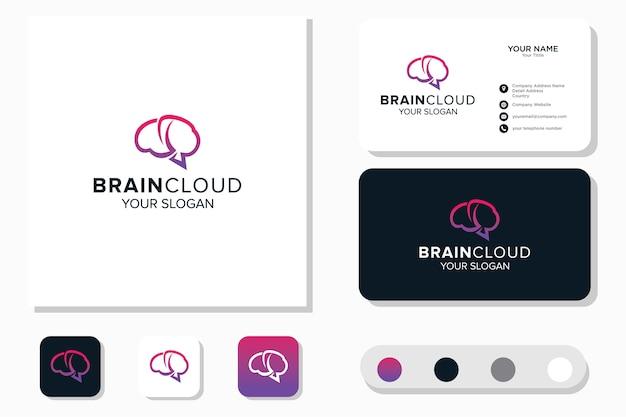 Hersenen en cloud logo-ontwerp en visitekaartje