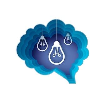 Hersenen en gloeilampen. gloeilamp in papieren ambachtelijke stijl. origami elektrische lamp voor creativiteit, opstarten, brainstormen, zaken. hersenen vorm blauw frame. idee. .