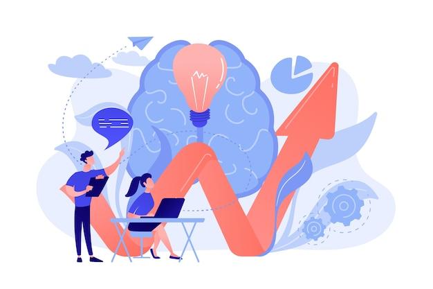 Hersenen, gloeilamp en zakelijk team dat probleem oplost. innovatieve oplossing, probleemoplossing en crisisbeheersingsconcept op witte achtergrond.