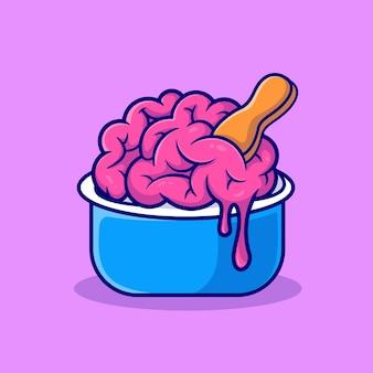 Hersenen ice cream cup cartoon vectorillustratie pictogram. wetenschap voedsel pictogram concept geïsoleerde premium vector. platte cartoonstijl