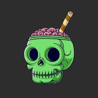 Hersenen ijs schedel illustratie