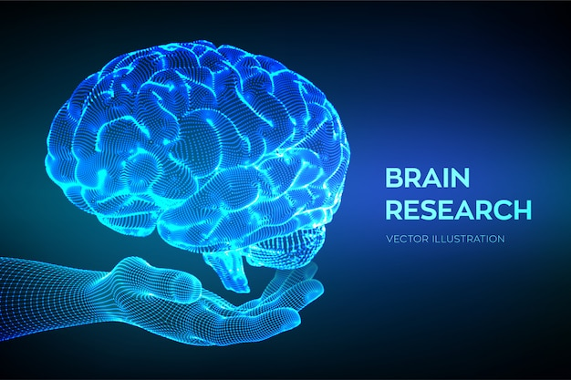Hersenen in de hand. menselijk hersenonderzoek. neuraal netwerk.