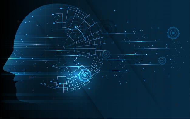 Hersenen in hoofd van menselijke kunstmatige intelligentie
