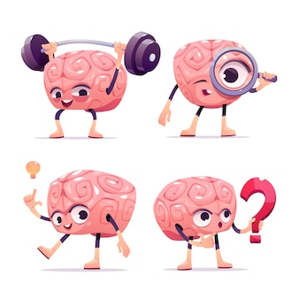 Hersenen karakters, cartoon mascotte met grappig gezicht