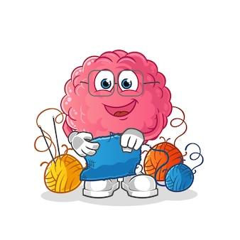 Hersenen kleermaker mascotte. tekenfilm