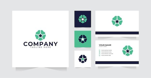 Hersenen logo-ontwerpinspiratie met modern sterlogo-ontwerp en visitekaartje