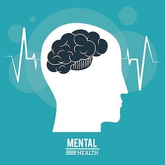 Hersenen menselijk profiel hoofd