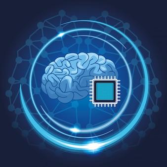 Hersenen met microchip