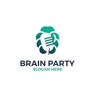 Hersenen met symbool microfoon logo ontwerpsjabloon