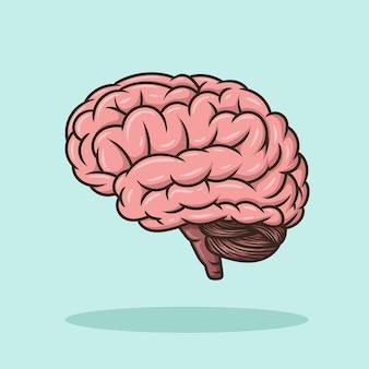Hersenen onderwijs object concept cartoon pictogram vector