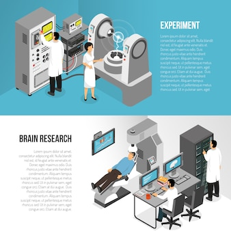 Hersenen onderzoek banners set