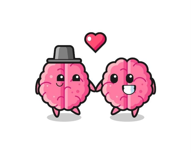 Hersenen stripfiguur paar met verliefd gebaar, schattig stijlontwerp voor t-shirt, sticker, logo-element