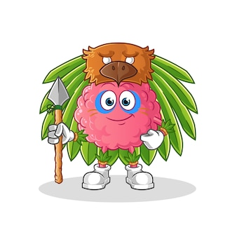 Hersenen tribal man mascotte. tekenfilm