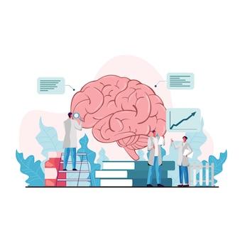 Hersenen ziekte risico concept met medisch onderzoek door artsen illustratie