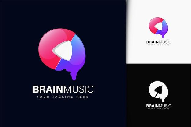 Hersenmuziek logo-ontwerp met verloop