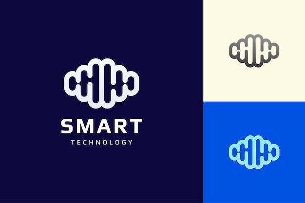 Hersensysteem of slim technologie-logo in platte en eenvoudige stijl