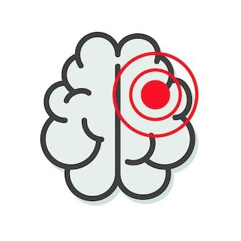 Hersentumor of kankerziekte icoon of migraine ziekte lijn schets kunst