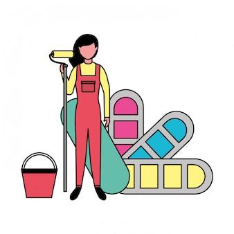 Herstel vrouw met verf palet kleur