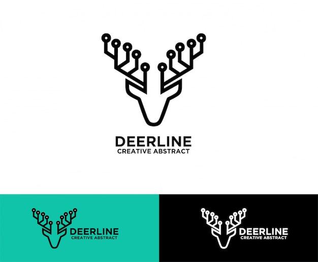 Hert hoofd tech symbool logo-ontwerp