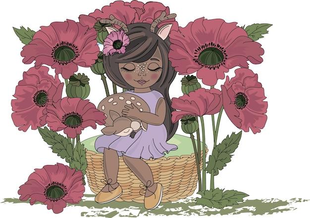 Herten baby en meisje cartoon vector illustration set