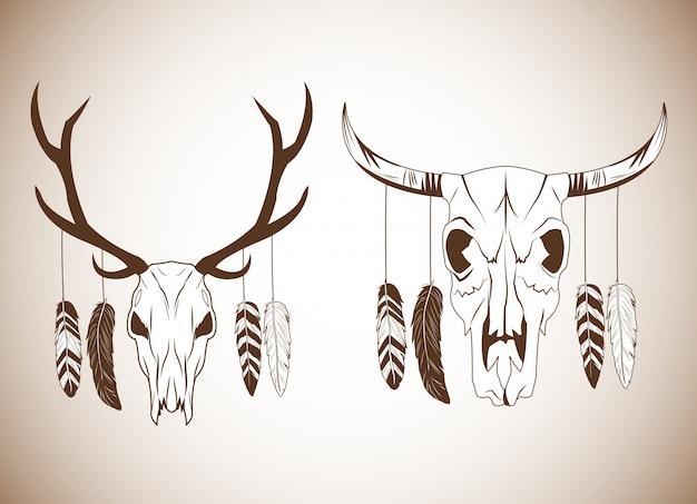 Herten en stier schedel pictogram