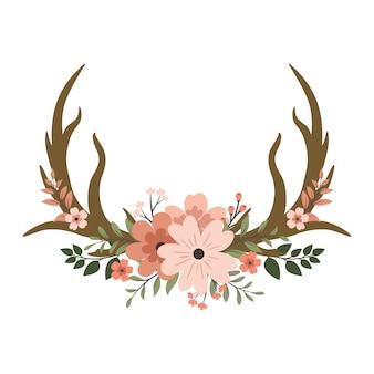Herten gewei bloemen