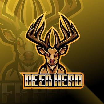 Herten hoofd esport mascotte logo ontwerp