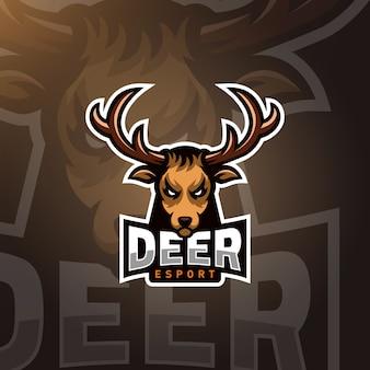 Herten hoofd gaming logo esport