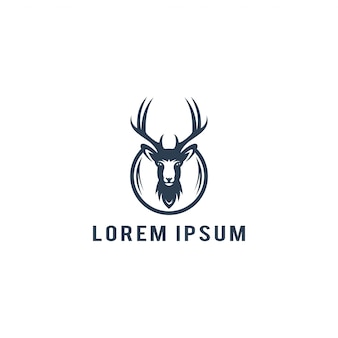 Herten hoofd logo sjabloon vectorillustratie