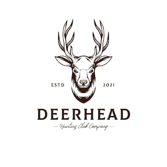 Herten hoofd logo sjabloon
