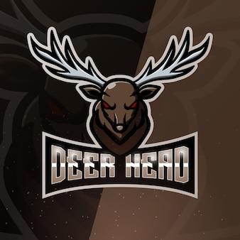 Herten hoofd mascotte esport illustratie