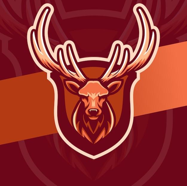 Herten hoofd mascotte esport logo ontwerp karakter