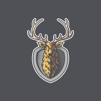 Herten hoofd schild ontwerp