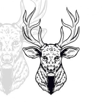 Herten hoofd vectorillustratie