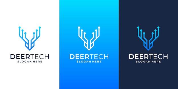 Herten hoofd verbinden tech lijnen logo ontwerp sjabloon pictogram symbool illustratie