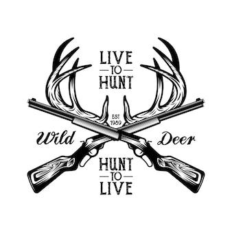 Herten hoorn jacht wild embleem badge