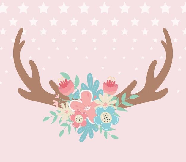 Herten hoorns met bloemen boho stijl