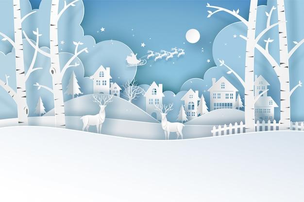 Herten in het bos op blauw in vrolijke kerstkaart. illustratie kunst in papier gesneden.