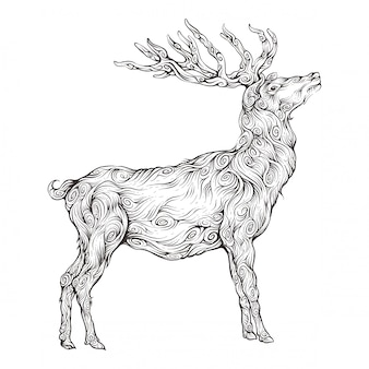 Herten in ornament handtekening met zijaanzicht