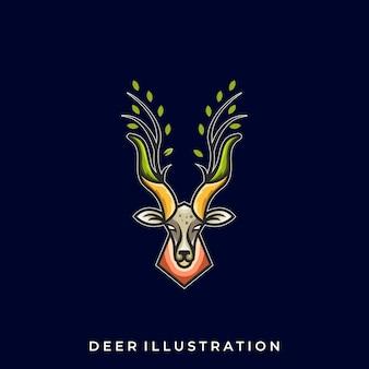 Herten lijn kunst illustratie logo sjabloon