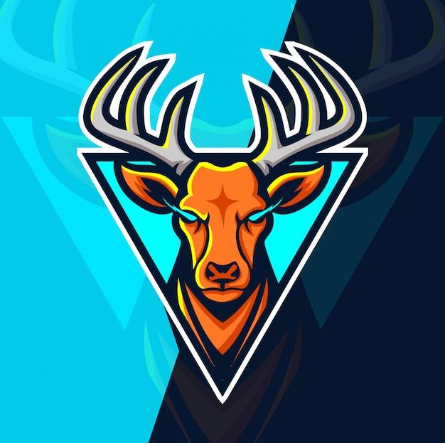 Herten mascotte esport logo ontwerp