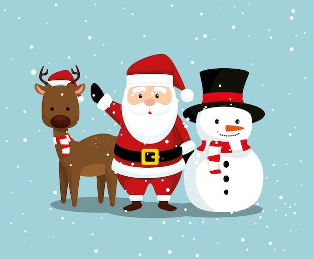 Herten met de kerstman en sneeuwman aan vrolijke kerstmis