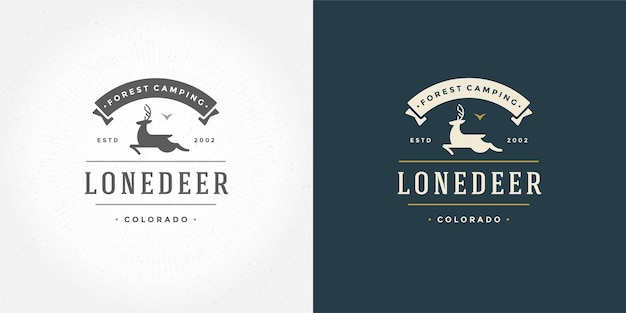 Herten met hoorns logo embleem vector illustratie rendieren silhouet voor shirt of print stempel. vintage typografie badge ontwerp. Premium Vector