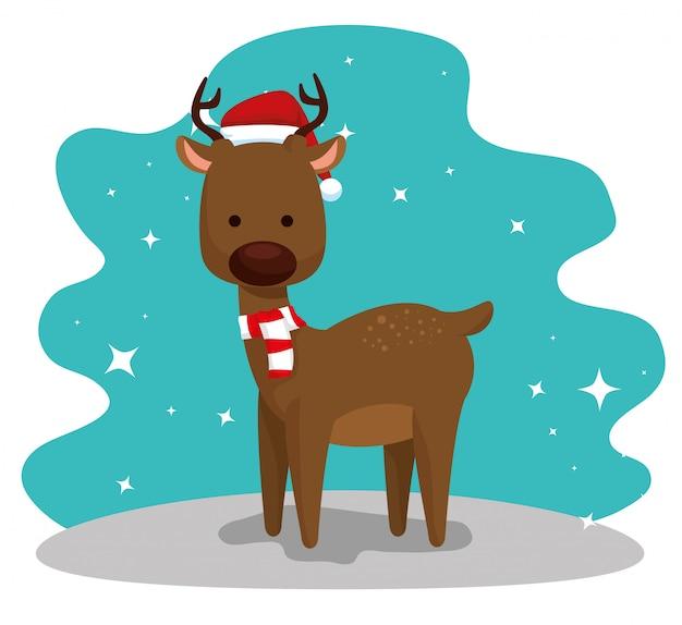 Herten met muts en sjaal tot vrolijke kerst