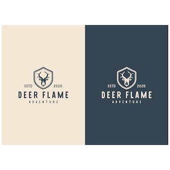 Herten met vuur vlam logo vintage