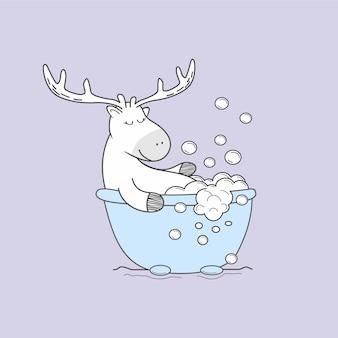 Herten nemen een bubbelbad