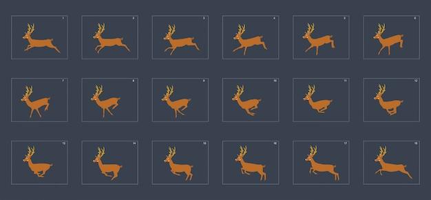 Herten uitvoeren cyclus animatie sprite sheet.
