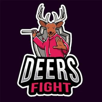 Herten vechten esport logo sjabloon